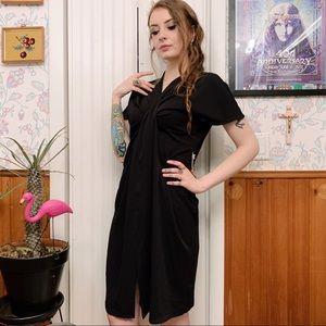 NWT Gilli Black Draped Column Midi Sample Dress Sm
